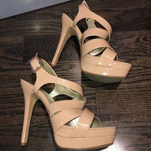 Nude colour strappy platform heels